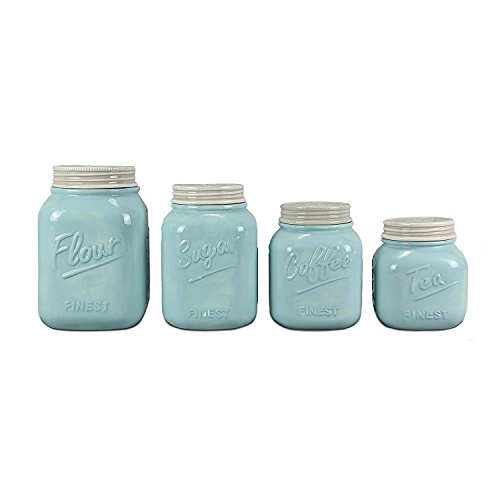 Young's Home Decor Ceramic Canister (Set of 4), 5.75' x 10.75' x 5.75' (15651)