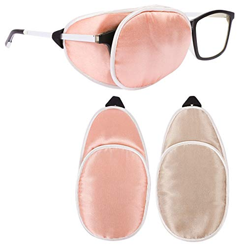 eZAKKA Eye Patches for Adults, Kids Eye Patch for Glasses Silk Patch for Lazy Eye Amblyopia Strabismus and After Surgery (Brown+Orange)