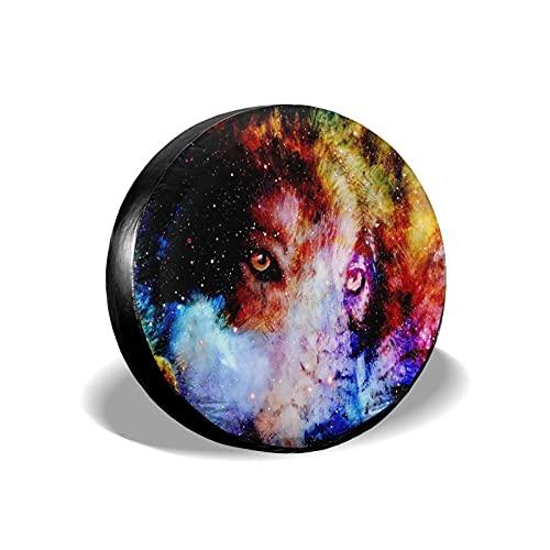 Lewiuzr Universe Wolf Space Galaxy Cubierta de neumático de Rueda de Repuesto de poliéster Potable Cubiertas de Rueda Ajuste Universal