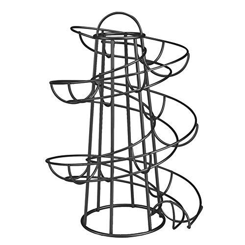 MIBANG Eierablage, Spiraldesign, Metall, Eier-Spender, Ablage für Eier Schwarz