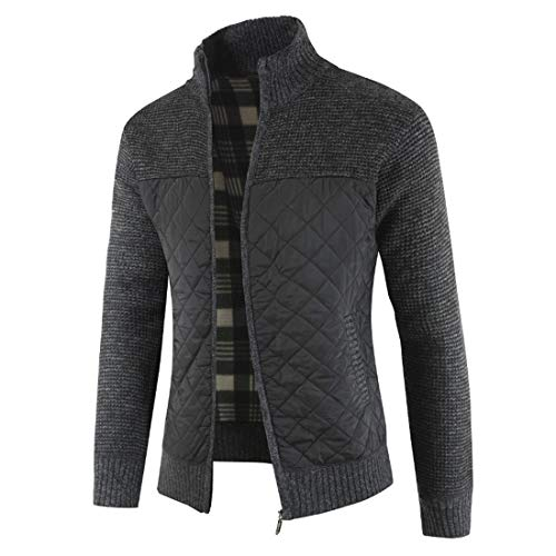 FULUN Mens Long Sleeve Coat Jacket Warm Knitted Knitwear Men's Casual Fashion Zipper Up Stand Collar Slim Fit Sweater Jumper Cardigan with Pockets Men Patchwork Cotton Linen Sweatshirt Pullover Tops