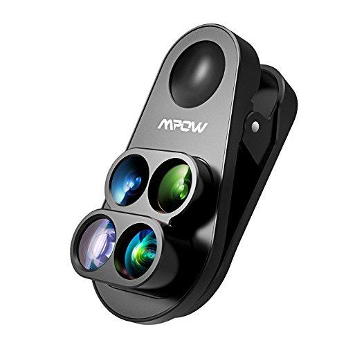 Mpow Obiettivi Smartphone Clip On 4 in 1 Lente Fisheye Lente Fisheye 160° + 0.65X 160 ° Lente Grandangolo+ 10X Lente Macro Lente Cellulare per iPhone/Android