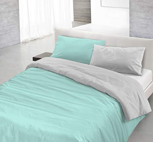 Italian Bed Linen Natural Color Parure Copri Piumino, 100% Cotone, Verde Acqua/Grigio Chiaro, SINGOLO
