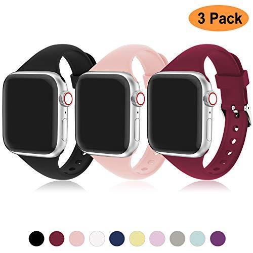Cinturino Apple Watch 42mm 38mm, Compatibile per Apple Watch 44mm 42mm 38mm 40mm, Cinturino Sportiva in Silicone Traspirante Cinturino Uomo e Donna per iWatch Serie 5 4 3 2 1, 3 Colori A, 38mm/40mm