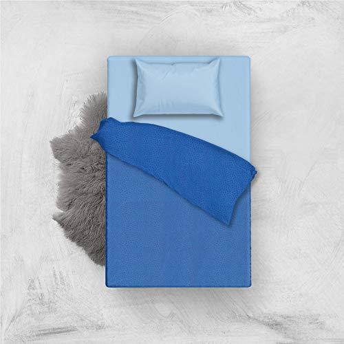L'ANTICO ARCOLAIO Set Completo Letto Lenzuola Microfibra No Stiro Bicolore Jaquard (Blu/Azzurro, Una Piazza E Mezza)