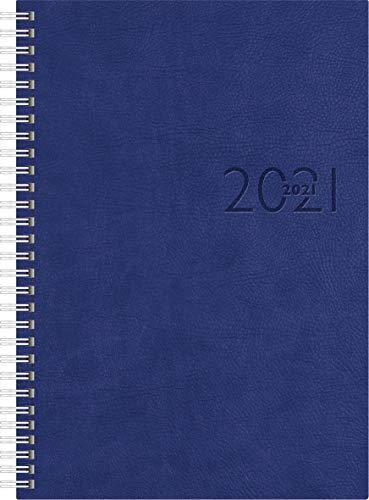 rido/idé 7023036301 Buchkalender studioplan int, 2 Seiten = 1 Woche, 168 x 240 mm, Kunstleder-Einband Tejo blau, Kalendarium 2021, mit Registerschnitt, Wire-O-Bindung
