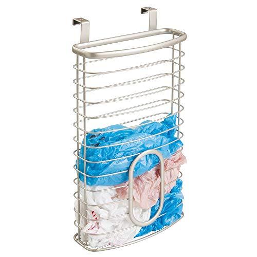 mDesign Organizador de bolsas plásticas para la puerta – Caja organizadora para cocina en metal – Práctico dispensador de bolsas colgante para bolsas de congelador y de residuos – plateado mate
