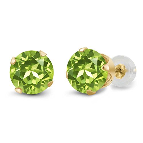 Gem Stone King 14K Yellow Gold Green Peridot Stud Earrings For Women, 1.80 Cttw, 4-Prong, Gemstone Birthstone, 6MM Round
