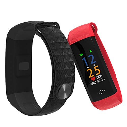 Glefox Fitnesstracker met kleurendisplay, hartslagmonitor, activiteitentracker, IP67, waterdicht, slaapmonitor, GPS, stappenteller, kinderen, dames, heren, smartwatch Rood
