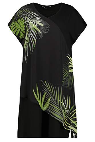 Ulla Popken Damen Größen, Jerseykleid, überschnittene Schulter mit asymmetrischem Chif Kleid, Mittelgrau Melange, 46