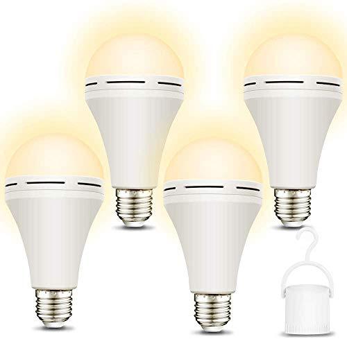 Paquete de 4 bombillas de emergencia recargables de 3000 K suaves y cálidas con batería de respaldo, se mantiene la iluminación...
