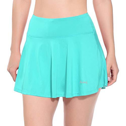 BALEAF Women's Athletic Tennis Skirts Running Workout Golf Yoga Skorts Ball Pockets Miniskirt Mint Green S