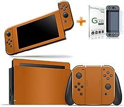 Kit Skin Adesivo Protetor Nintendo Switch + Película de Vidro (Laranja)