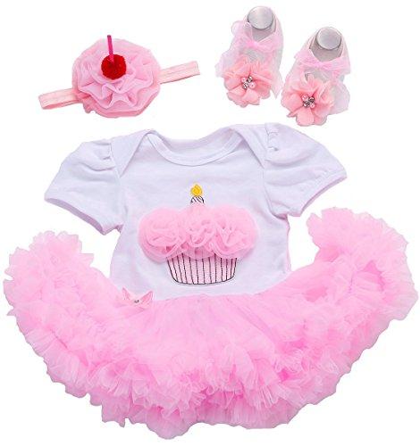 Fubin Tutu 1 Year Birthday Dress Baby Girl Clothes Sunsuit Shoes Headband suit Cupcake Short Sleeve, Pink/White, 12Months