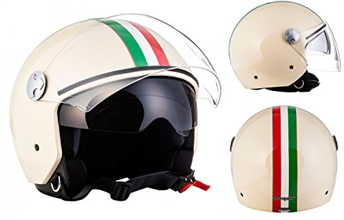 "ARMOR · AV-63 ""Italy Creme"" (Beige) · Jet-Helm · Scooter-Helm Bobber Motorrad-Helm Roller Chopper Mofa · ECE certified · Separate Visors · Click-n-Secure Clip · Tragetasche · XL (61-62cm)"