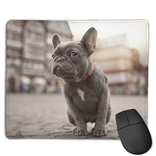 Teesofun Unique Mouse Pad Cute French Bulldog Street Art Rectangle Rubber Mousepad 8.66 X 7.09 Inch Non-Slip Gaming Mouse Pad