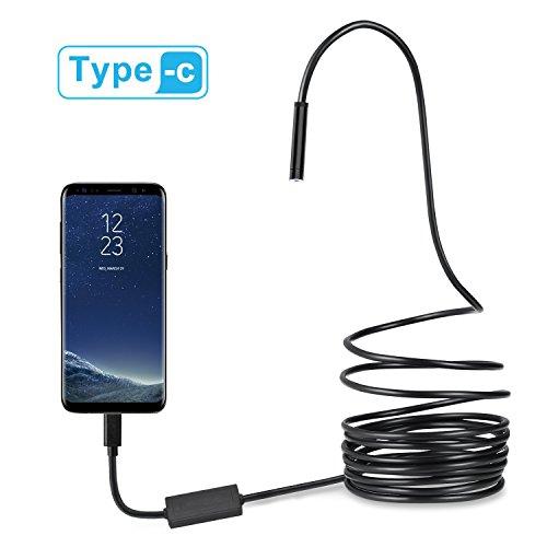 USB-C und Micro-USB-Endoskop, halb-starr, USB Typ-C Boroskop, Inspektionskamera, 2.0 MP CMOS HD, wasserdichte Schlangenkamera mit 8 verstellbaren LEDs für Android, Windows und MacBook-Geräte, 3m, 3 m