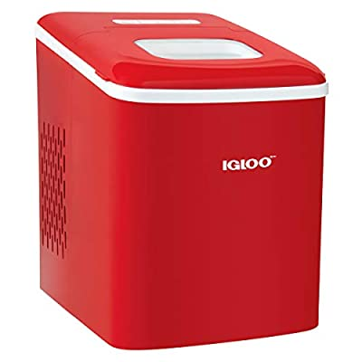 Igloo ICEBNH26RD Automatic Self-Cleaning Portable Electric Countertop Ice Maker Machine, 26 Pounds in 24 Hours, 9 Cubes Ready in 7 minutes, With Scoop and Basket, Red