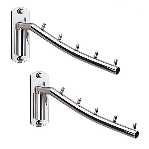 Zivisk Folding Wall Mounted Clothes Hanger Rack Wall Clothes Hanger Stainless Steel Swing Arm Wall Mount Clothes Rack Heavy Duty Drying Coat Hook Clothing Hanging System Closet Storage Organizer