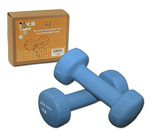 Da Vinci Pair of Neoprene Dumbbells with Non-Slip Grip, Choose Your Dumbbell Weight 5LBs