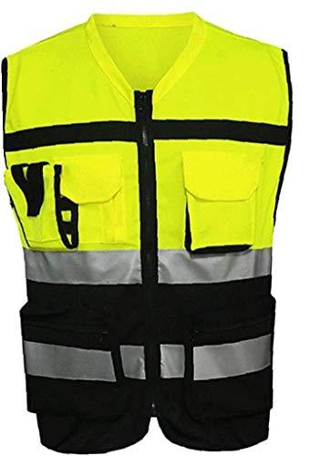 Heall Signal Farbe Jacket Sicherheitsweste Reflektierende Kleidung für Motorradfahrradbekleidung Edelsteine- schwarz und gelb