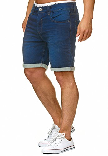 Indicode Herren Lonar Jeans Shorts mit 5 Taschen aus 98% Baumwolle | Kurze Denim Stretch Sommer Hose Used Look Washed Destroyed Regular Fit Men Short Pants Freizeithose f. Männer Blue XXL
