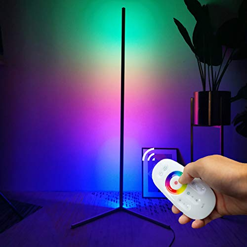 TACAHE Corner Floor Lamp RGB Color Changing Modern Floor Lamp Dimmable LED 56' Tall Standing Lamp with Remote Controller Metal Floor Lamps for Living Room, Bed Room 20W - Black