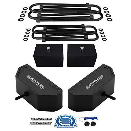 """Supreme Suspensions - Full Lift Kit for 1999-2004 Ford F250 / F350 Super Duty 4WD 3.5"""" Front + 3"""" Rear Suspension Lift Blocks with Heavy-Duty U-Bolts"""