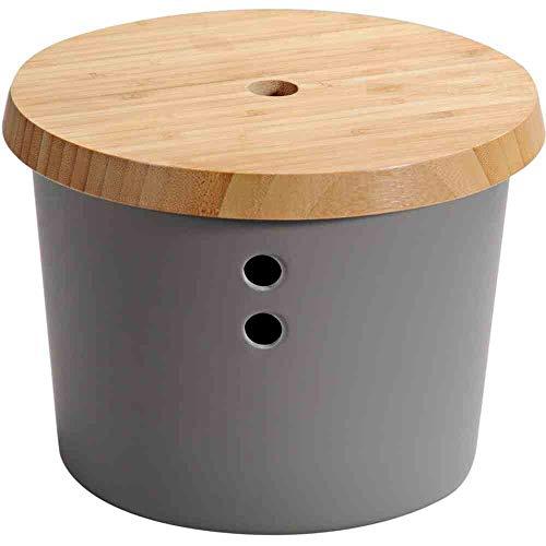 Kesper Zwiebeltopf aus Melamin-Kunststoff mit Bambus Deckel 32602