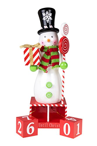 Count Down Snowman Nutcracker Christmas Advent Calendar Blocks | 100% Wood | with Top Hat, and Scarf | Holding Gift and Candy Cane Scepter | 13' Tall | Perfect for Tables and Shelves | Holiday Décor