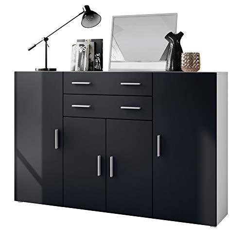 Vladon Buffet Haut Aron à 8 Compartiments et 2 tiroirs, Caisson en Blanc Mat/façades en Noir Mat
