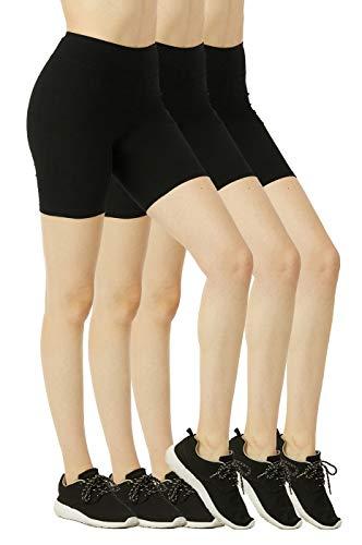 Women's Mid Thigh 15″ Short Cotton Leggings – 3 in a Pack (L, Black) | Cotton Leggings