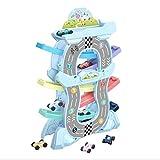 1Rampa de Carrera para Niños Juegos Circuito Coches Educativos Regalo Juguetes para Niños con 12 Mini Coches, Parking y Gasolinera Bonito y Divertido,Rosado