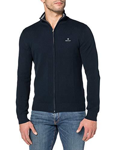 GANT Herren Cotton Pique Zip Cardigan Pullover, Evening Blue, L