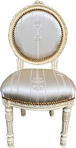 Casa Padrino sillón de salón Barroco Crema/Oro - Sillón de Estilo Antiguo Hecho a Mano con Tela de satén Fino y patrón Elegante - Muebles Barrocos