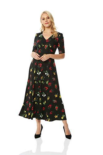Roman Originals - Vestido de mujer con diseño de flores, estilo retro,...