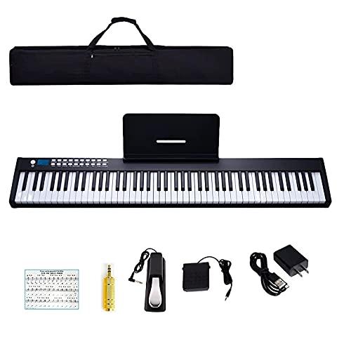 YUEQIN 88 Key Portable Digital music Piano Keyboard,Semi-Weighted Keys,Built in...