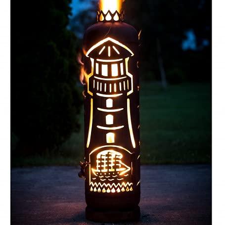 Mandelu Feuerstelle Feuertonne Leuchtturm mit Segelschiff
