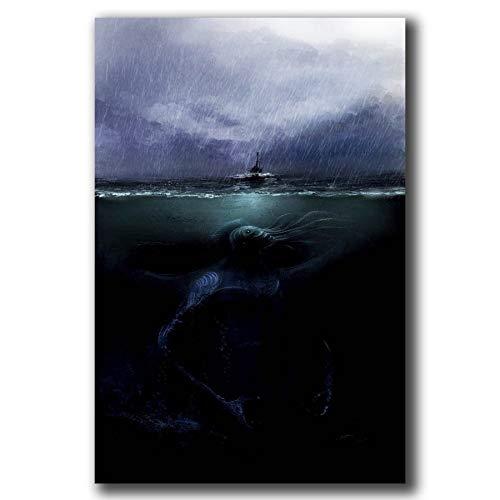 NOVELOVE Carteles e Impresiones Lovecraft Cthulhu Mythos Art Poster Pintura de la Lona Decoración para el hogar Regalo sin Marco 40 * 60cm
