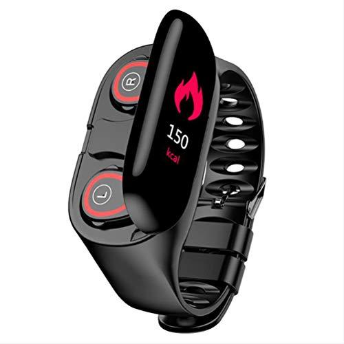 HJKPM IP67 Smartwatch Impermeable, Auriculares Bluetooth Integrados Smart Watch con Calorías Temperatura Dinámico Monitoreo De Frecuencia Cardíaca GPS 15 Funciones