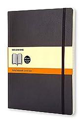 Moleskine - Carnet de Notes Classique Papier à Rayures - Journal Couverture Souple et Fermeture par Elastique - Couleur Noir - Taille Très Grand Format 19 x 25 cm - 192 Pages de Moleskine