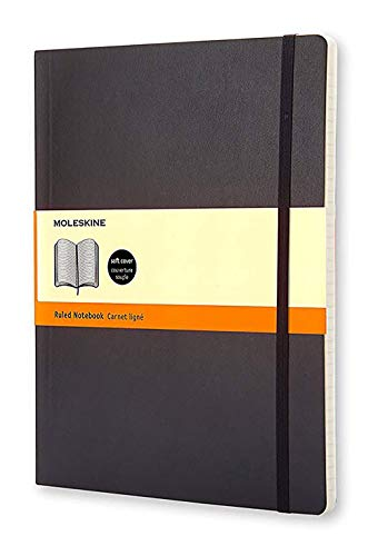 Moleskine Classic Notebook, Extra Large, Ruled, Black, Soft Cover (7.5 X 10)