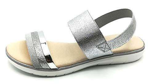Sandalia Comoda Mujer Piel Y Plantilla Gel Color Plata Moderna con Elastico NO-8126S
