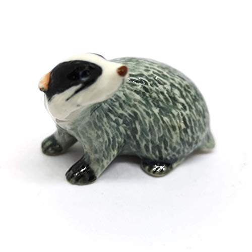 ZOOCRAFT Ceramic Badger Figurine Tiny Craft Miniature Collectible Porcelain Animal Zoo