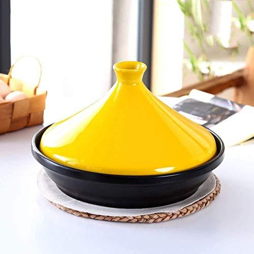 WJHCDDA Cazuelas Cacerola Gruesa para cazuela de cerámica con Base de Hierro Fundido y Tapa de Embudo de gres para Todos los Tipos de Placa de cocción 10.2 Pulgadas Base 2 litros (Color: 30cm