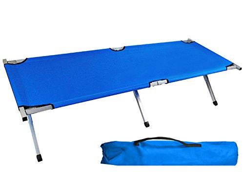 ISO TRADE Feldbett Klappbar Belastbar Bis 110kg Klappbett Tourist Stabil Komfortabel Leicht Dunkelblau Blau Grun 797, Farbe:Blau