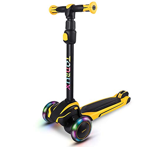 TONBUX Kids Scooter with Adjustable Height Toddler Scooter, Lean to Steer, Light Up 3-Wheels, Shock Absorption Design, Scooter for Kids Age 3-10