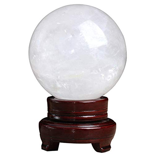 J.Mmiyi Natural White Crystal Ball with Stand, Feng Shui Balls Meditation Ornaments, Family Decorative Figurine Fortune Telling,White,10CM