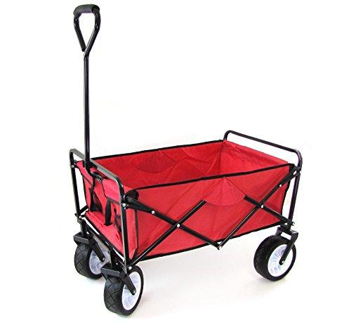Tenzo-R 34128 Faltwagen Handwagen Bollerwagen Offroad mit Extra breiten Rädern bis 80kg rot