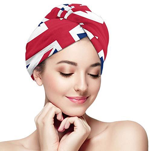 ZVEZVI Bandera británica Gran Bretaña Inglés Inglaterra Toalla para el Cabello Turbante Microfibra Secado Toalla de Ducha de baño con Botones, Sombrero para el Cabello seco, Gorro de baño Envuelto